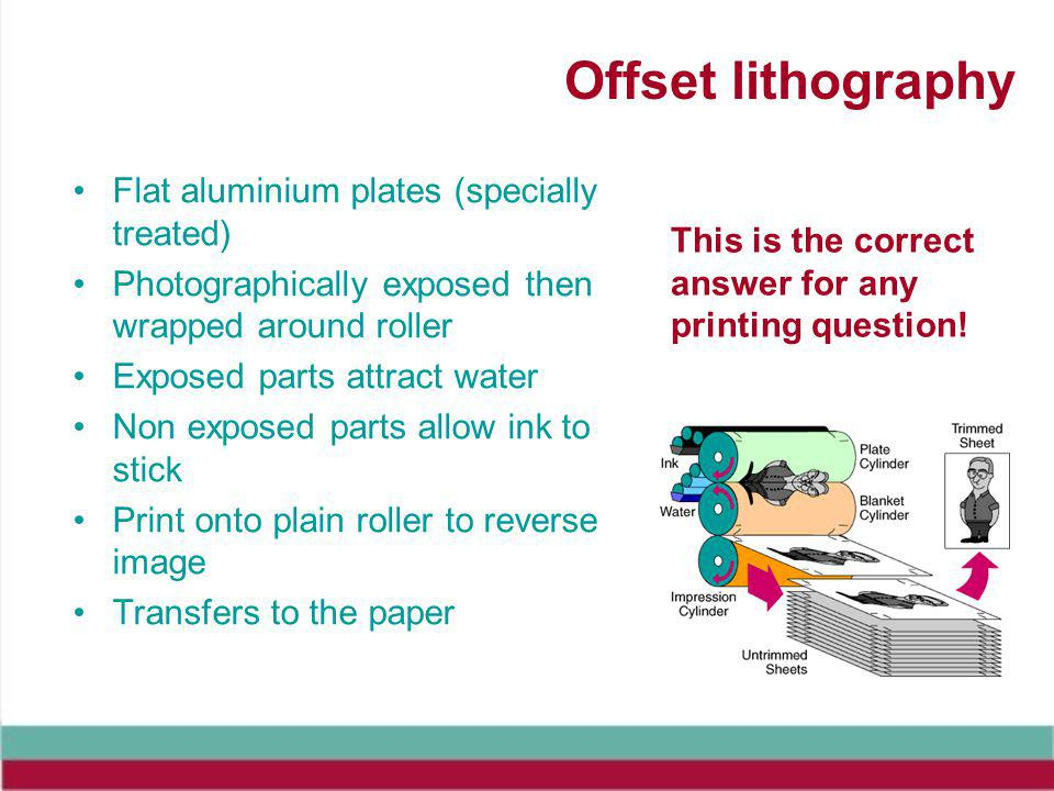 Offset lithography Flat aluminium plates (specially treated) Photographically exposed then wrapped around roller Exposed parts attract water Non exposed parts allow ink to stick Print onto plain roller to reverse image Transfers to the paper This is the correct answer for any printing question!