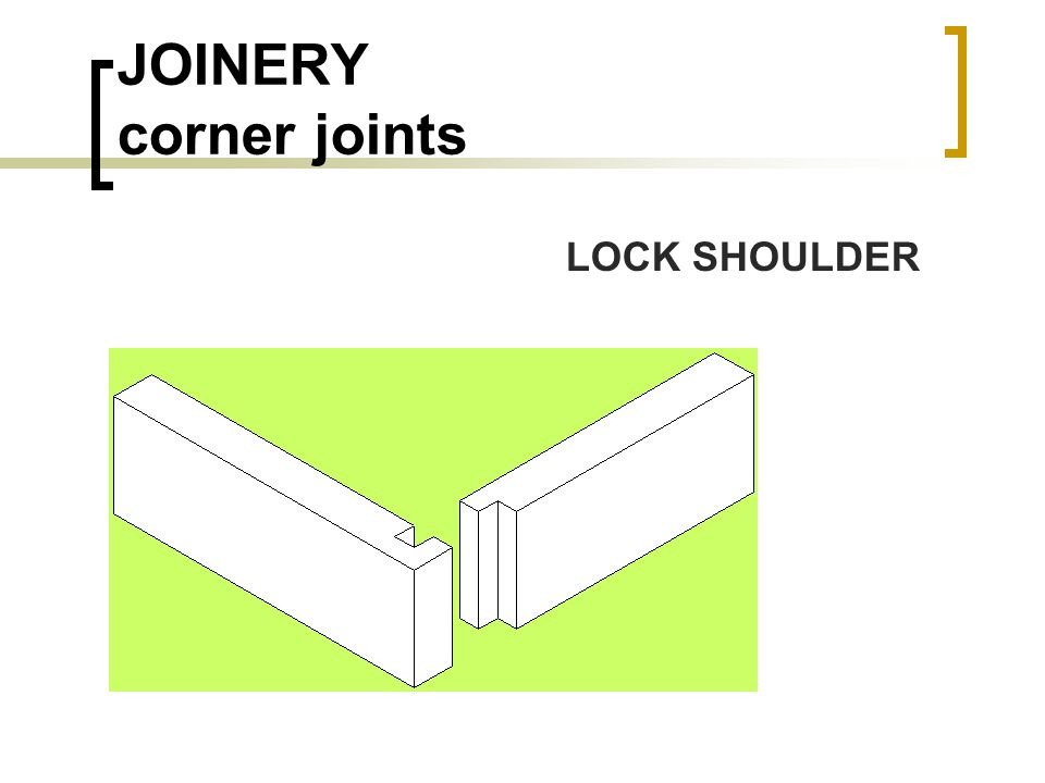 JOINERY corner joints LOCK SHOULDER