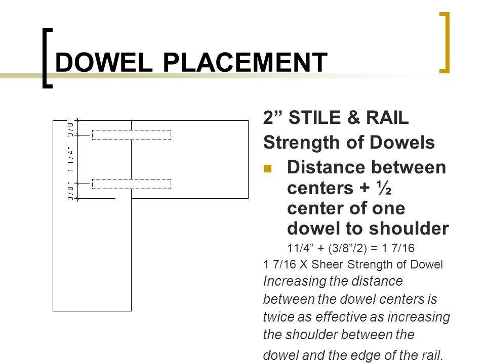 DOWEL PLACEMENT 2 STILE & RAIL Strength of Dowels Distance between centers + ½ center of one dowel to shoulder 11/4 + (3/8/2) = 1 7/16 1 7/16 X Sheer Strength of Dowel Increasing the distance between the dowel centers is twice as effective as increasing the shoulder between the dowel and the edge of the rail.