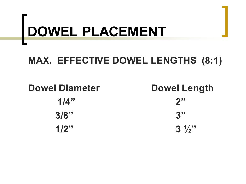 DOWEL PLACEMENT MAX. EFFECTIVE DOWEL LENGTHS (8:1) Dowel DiameterDowel Length 1/42 3/8 3 1/23 ½