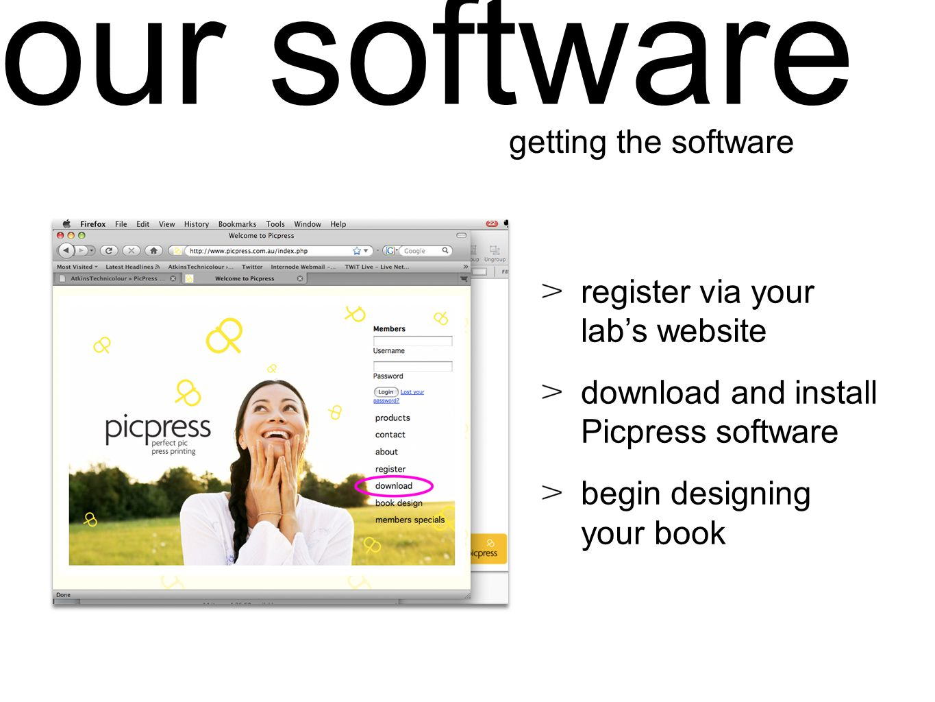 our software register via your labs website download and install Picpress software begin designing your book getting the software