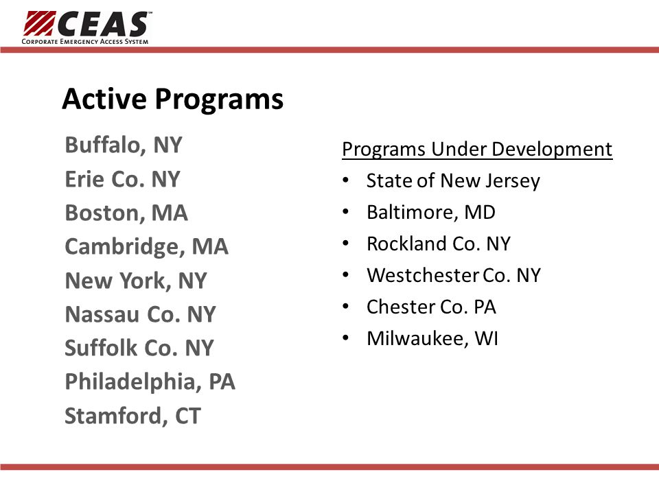 Active Programs Interested Localities Programs Under Development State of New Jersey Baltimore, MD Rockland Co.