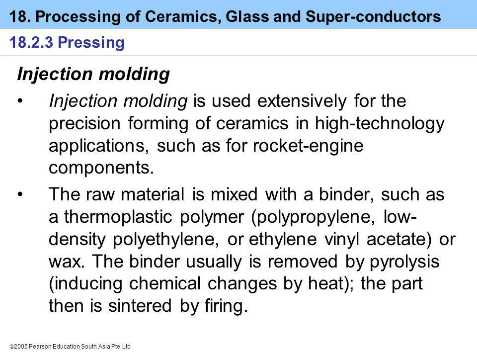 18. Processing of Ceramics, Glass and Super-conductors 2005 Pearson Education South Asia Pte Ltd 18.2.3 Pressing Injection molding Injection molding i