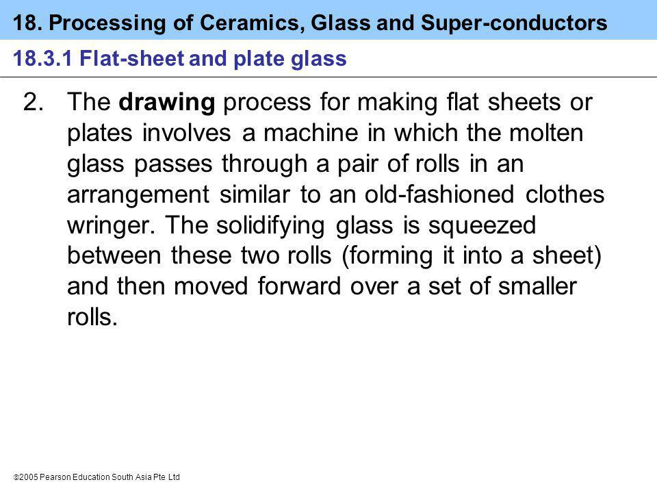 18. Processing of Ceramics, Glass and Super-conductors 2005 Pearson Education South Asia Pte Ltd 18.3.1 Flat-sheet and plate glass 2.The drawing proce