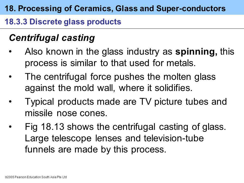 18. Processing of Ceramics, Glass and Super-conductors 2005 Pearson Education South Asia Pte Ltd 18.3.3 Discrete glass products Centrifugal casting Al