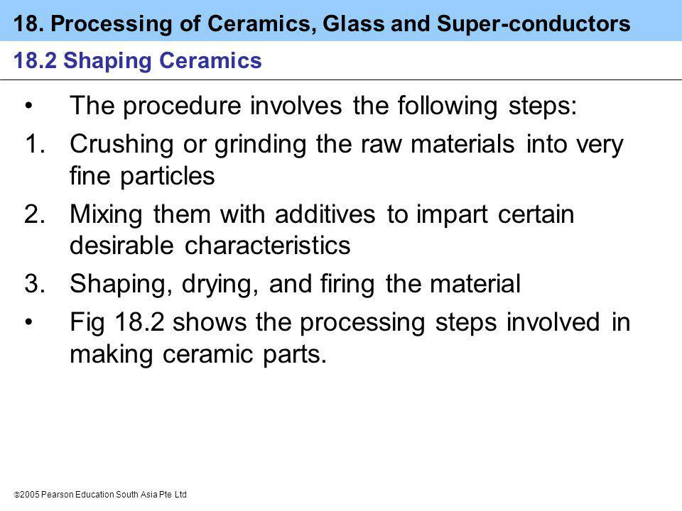 18. Processing of Ceramics, Glass and Super-conductors 2005 Pearson Education South Asia Pte Ltd 18.2 Shaping Ceramics The procedure involves the foll