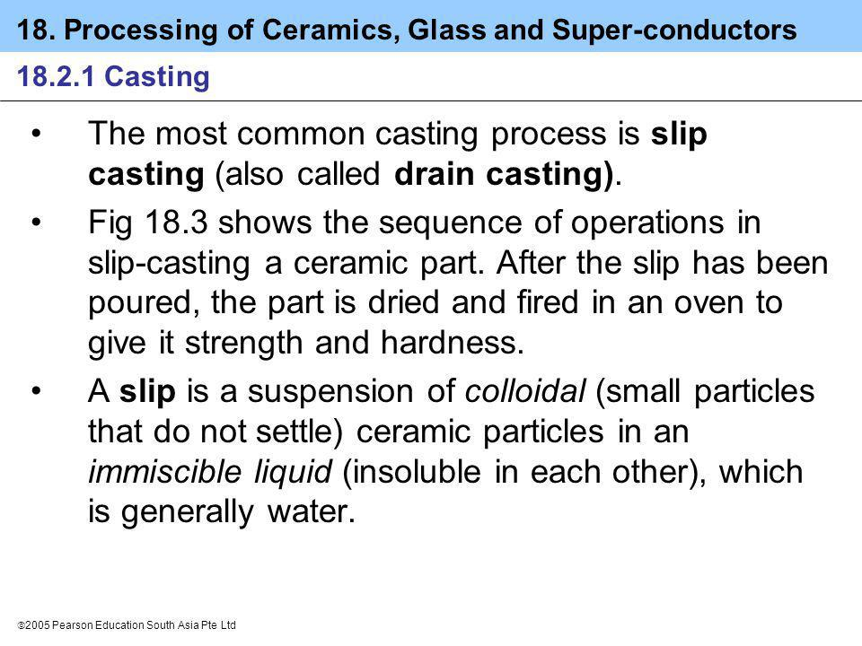 18. Processing of Ceramics, Glass and Super-conductors 2005 Pearson Education South Asia Pte Ltd 18.2.1 Casting The most common casting process is sli