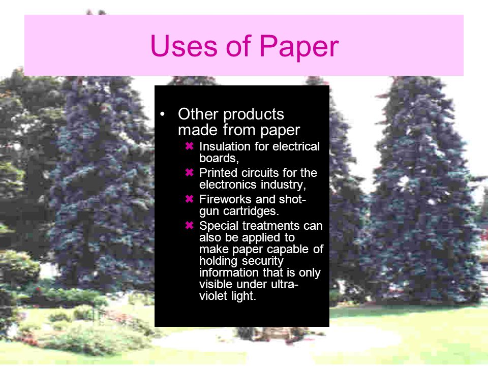 What We Can Do Change the type of trees where the pulp is derived to make paper (i.e.