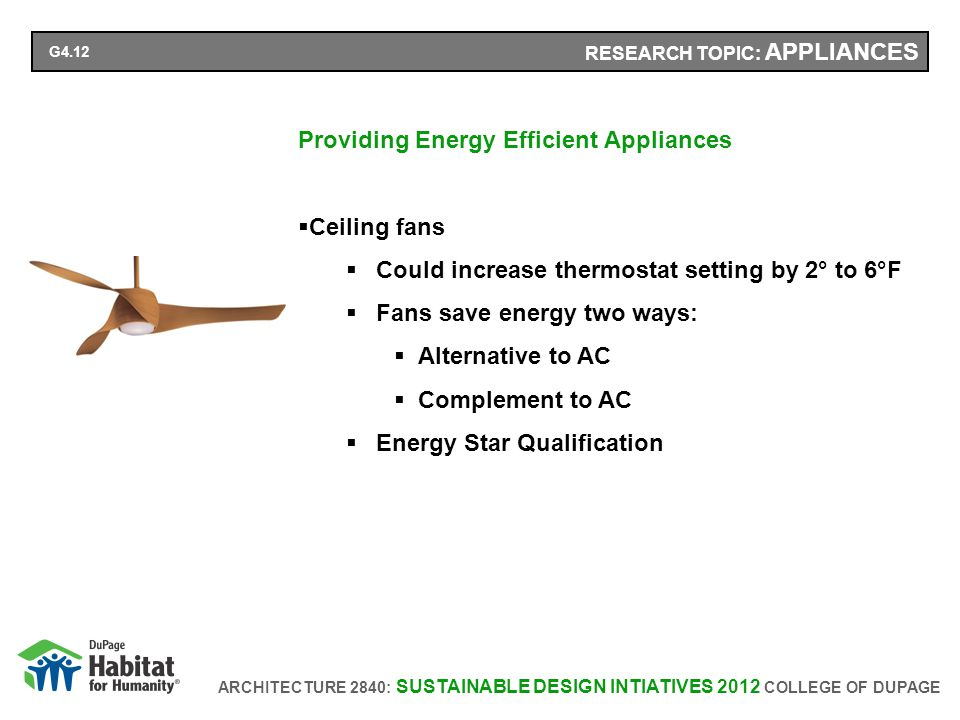 ARCHITECTURE 2840: SUSTAINABLE DESIGN INTIATIVES 2012 COLLEGE OF DUPAGE RESEARCH TOPIC: APPLIANCES Providing Energy Efficient Appliances Ceiling fans Could increase thermostat setting by 2° to 6°F Fans save energy two ways: Alternative to AC Complement to AC Energy Star Qualification G4.12