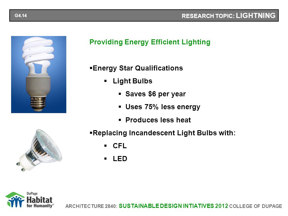 ARCHITECTURE 2840: SUSTAINABLE DESIGN INTIATIVES 2012 COLLEGE OF DUPAGE RESEARCH TOPIC: LIGHTNING Providing Energy Efficient Lighting Energy Star Qualifications Light Bulbs Saves $6 per year Uses 75% less energy Produces less heat Replacing Incandescent Light Bulbs with: CFL LED G4.14