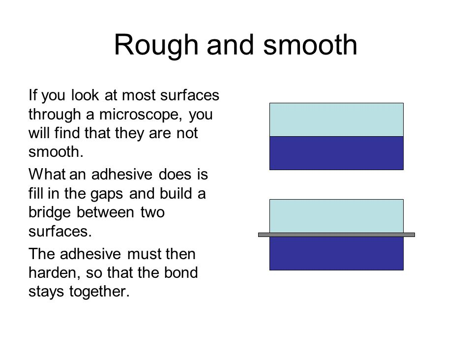 Rough and smooth If you look at most surfaces through a microscope, you will find that they are not smooth. What an adhesive does is fill in the gaps