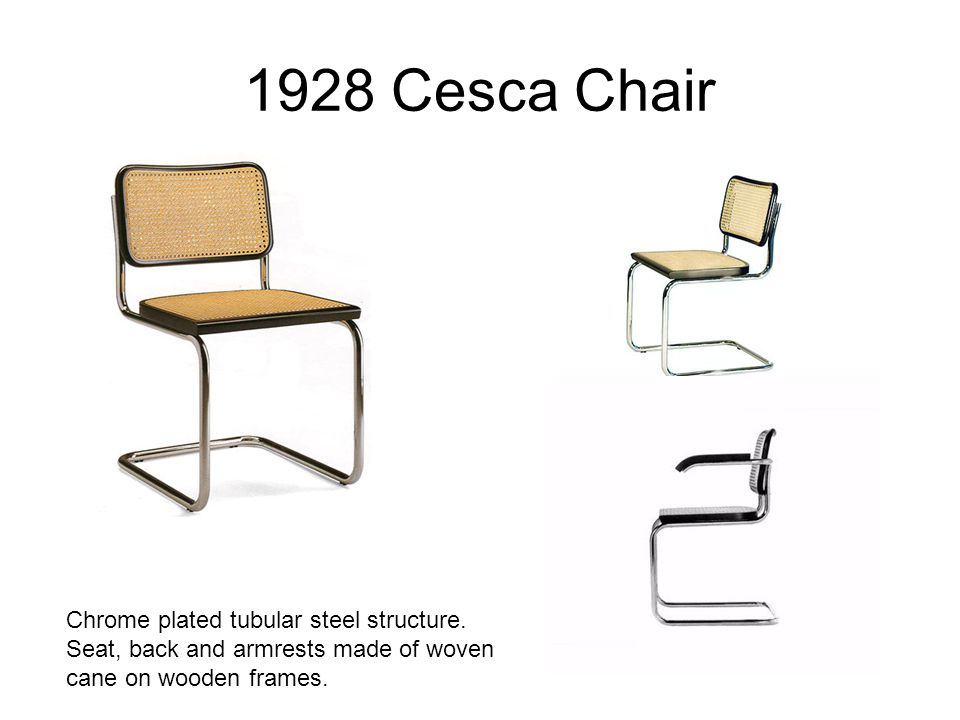 1928 Cesca Chair Chrome plated tubular steel structure. Seat, back and armrests made of woven cane on wooden frames.
