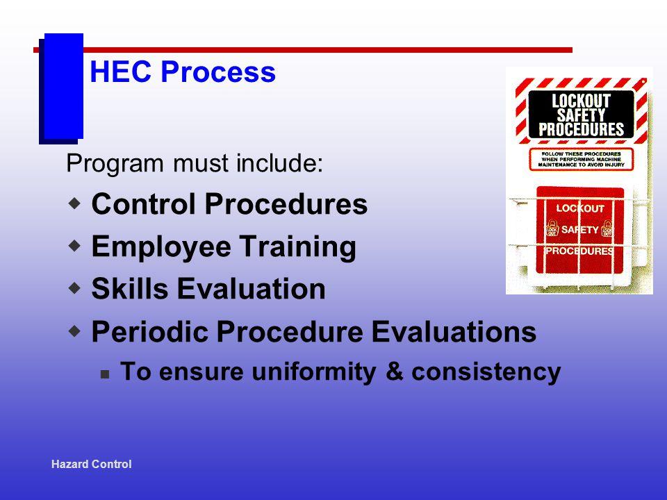 Hazard Control HEC Process Program must include: Control Procedures Employee Training Skills Evaluation Periodic Procedure Evaluations To ensure uniformity & consistency
