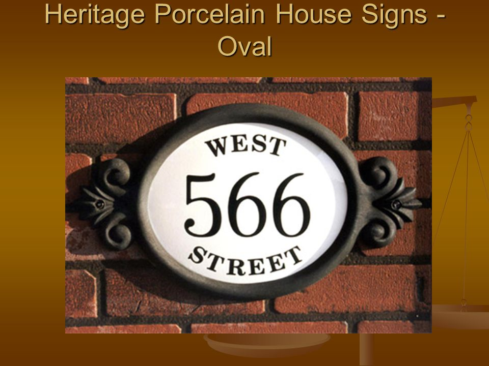 Heritage Porcelain House Signs - Oval