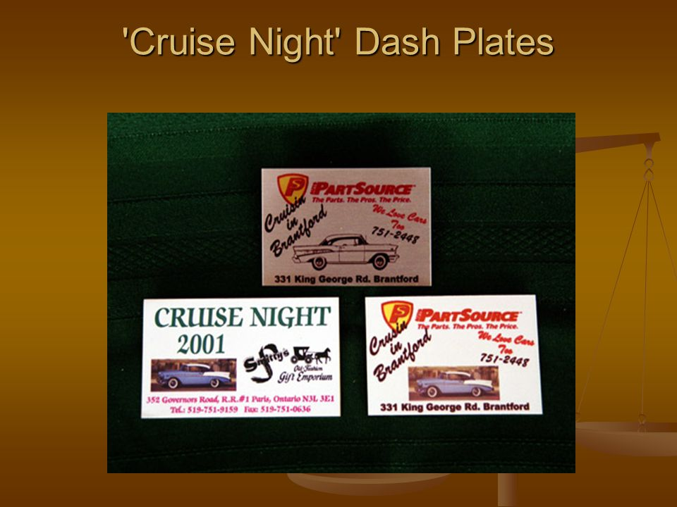 Cruise Night Dash Plates Cruise Night Dash Plates