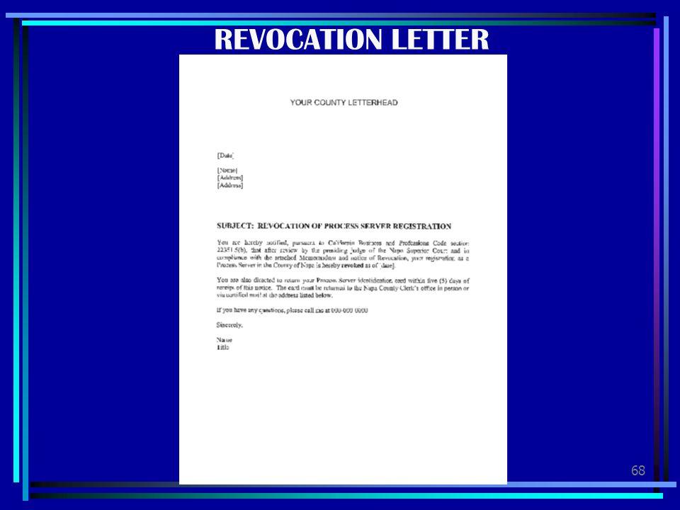 68 REVOCATION LETTER