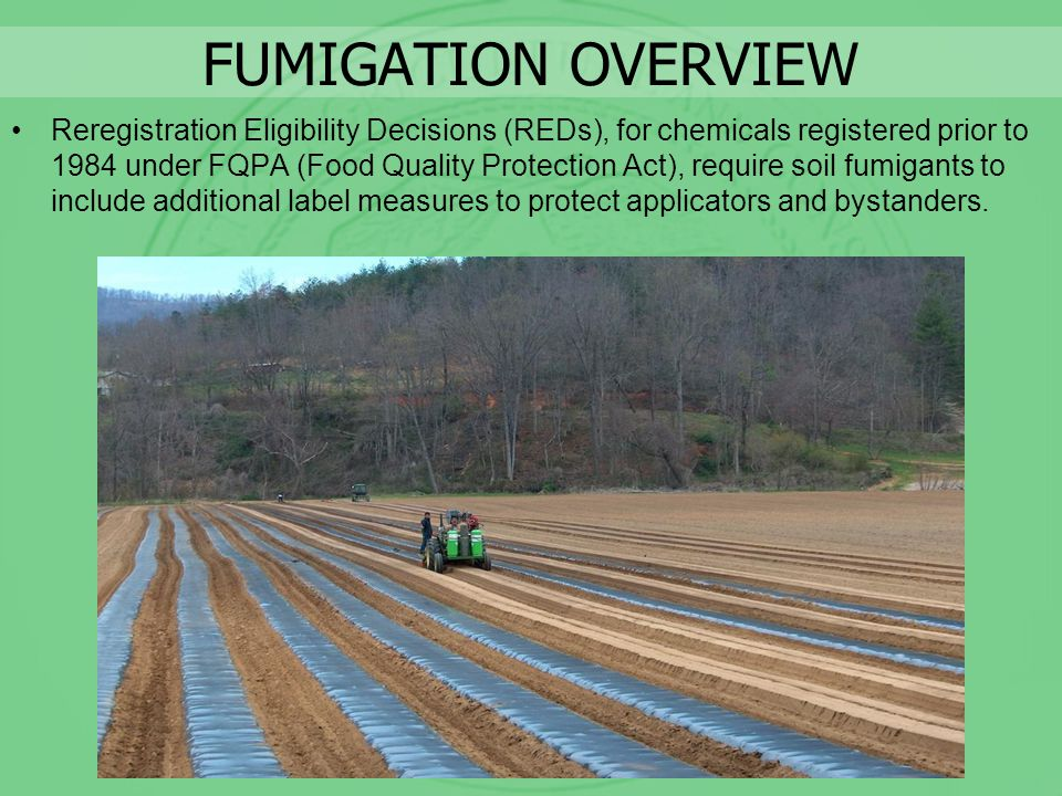 FUMIGATION OVERVIEW Reregistration Eligibility Decisions (REDs), for chemicals registered prior to 1984 under FQPA (Food Quality Protection Act), requ