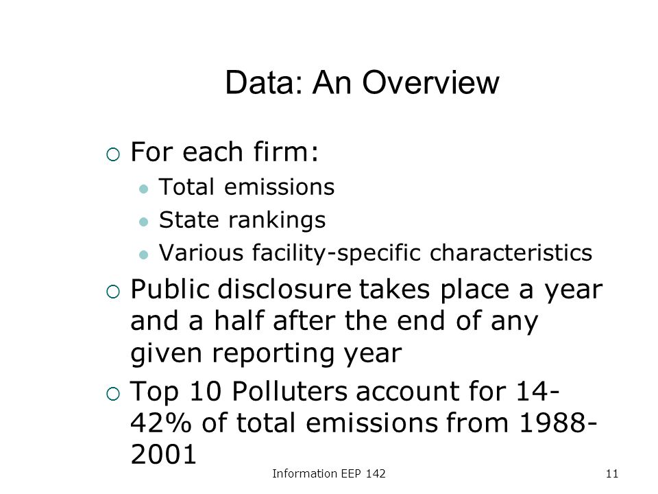 Information EEP 14211 Data: An Overview For each firm: Total emissions State rankings Various facility-specific characteristics Public disclosure takes place a year and a half after the end of any given reporting year Top 10 Polluters account for 14- 42% of total emissions from 1988- 2001