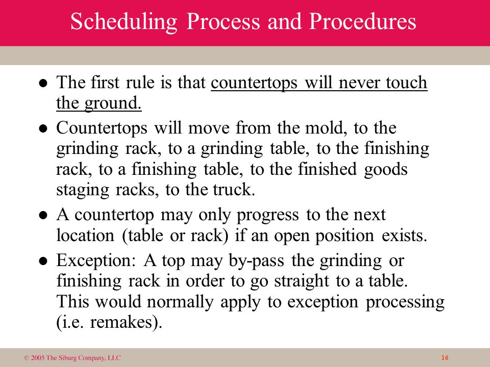 16 Scheduling Process and Procedures l The first rule is that countertops will never touch the ground.