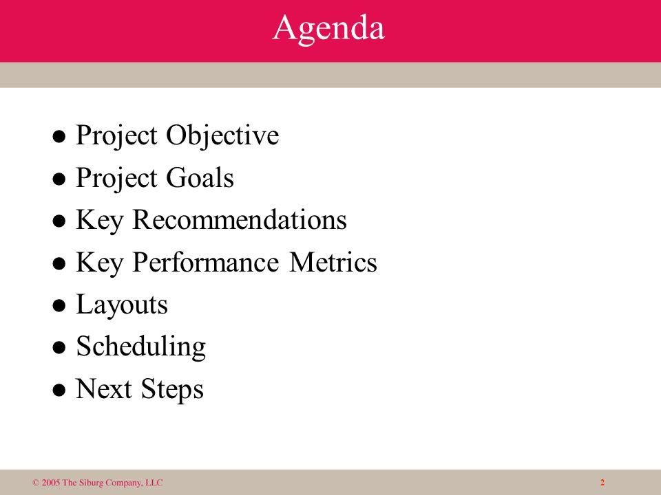 2 Agenda l Project Objective l Project Goals l Key Recommendations l Key Performance Metrics l Layouts l Scheduling l Next Steps