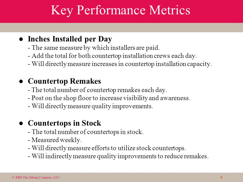 8 Key Performance Metrics l Inches Installed per Day - The same measure by which installers are paid.