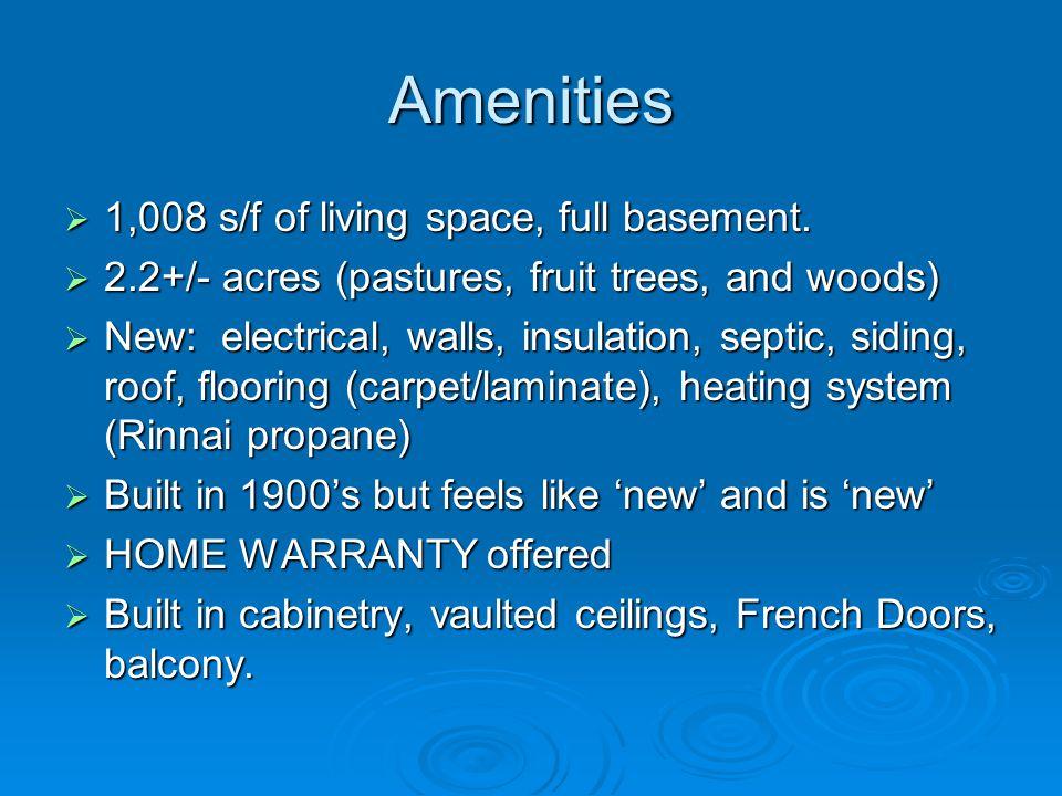 Amenities 1,008 s/f of living space, full basement.
