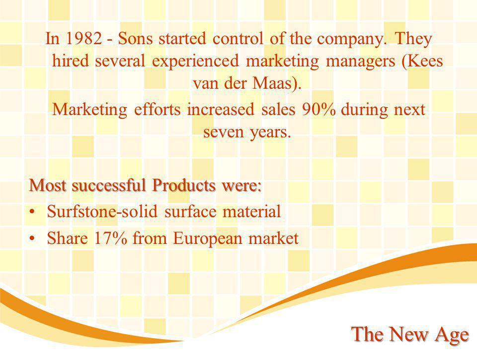 Kees van der Maas – Director of sales The boom gave him an opportunity to demonstrate his skills of planning & managing salesman s, distributors, dealers, fabricants.