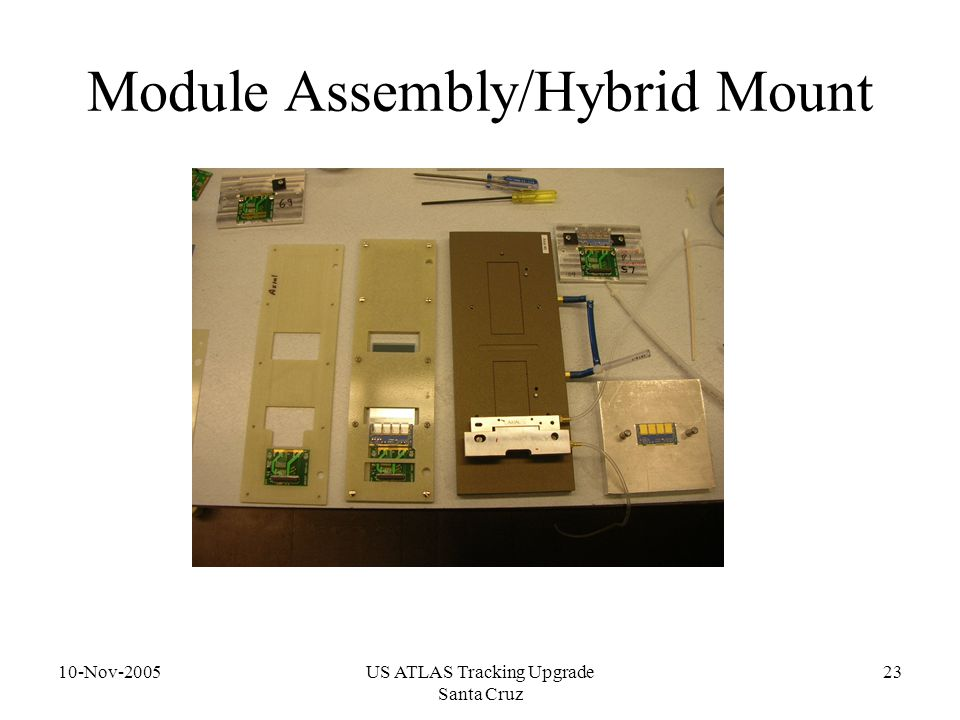 10-Nov-2005US ATLAS Tracking Upgrade Santa Cruz 23 Module Assembly/Hybrid Mount