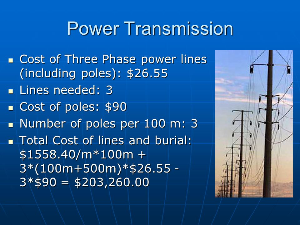 Power Transmission Cost of Three Phase power lines (including poles): $26.55 Cost of Three Phase power lines (including poles): $26.55 Lines needed: 3