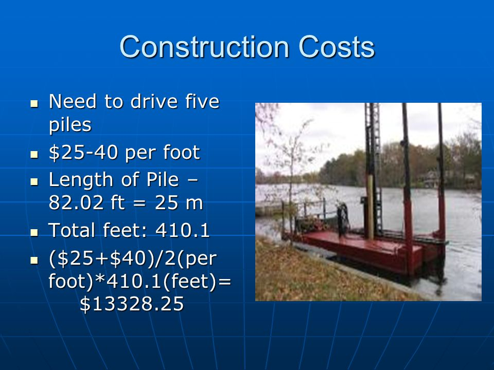 Construction Costs Need to drive five piles Need to drive five piles $25-40 per foot $25-40 per foot Length of Pile – 82.02 ft = 25 m Length of Pile –