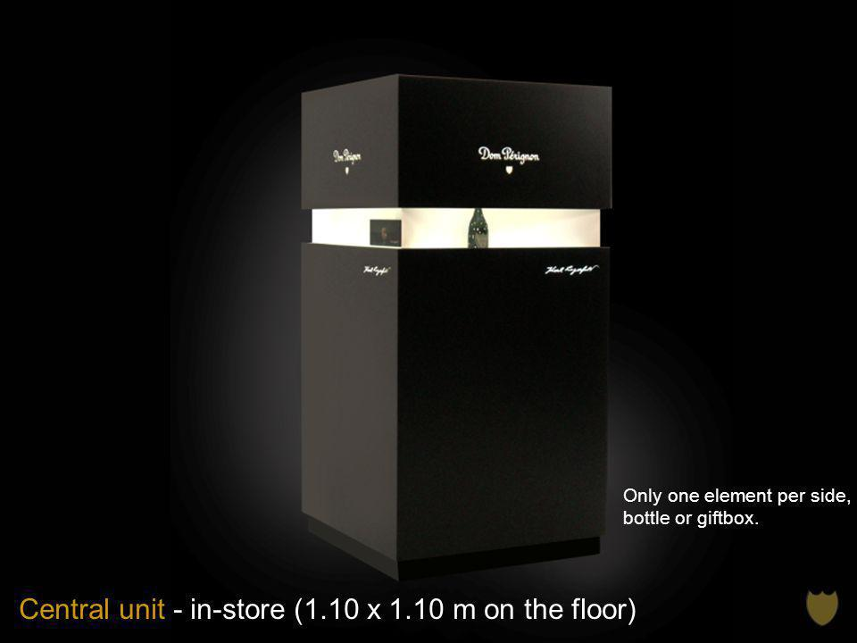 Central unit - in-store (1.10 x 1.10 m on the floor) Only one element per side, bottle or giftbox.