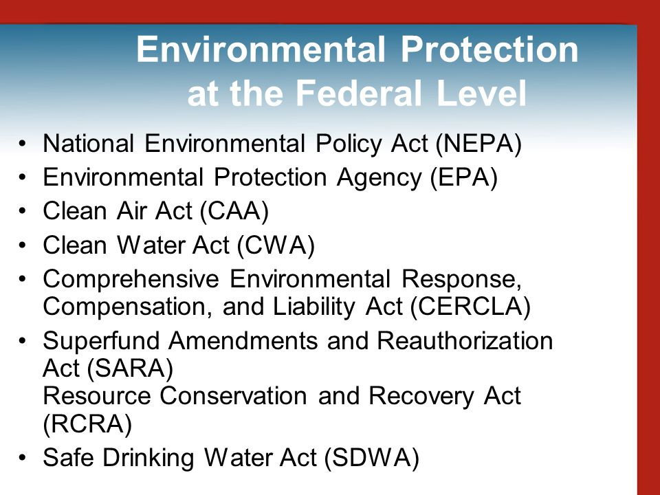 Environmental ProtectionWetlands Ecosystems where the land is permeated with water, and are commonly referred to as swamps, bogs, and marshes Protected under the federal Clean Water Act –Enforced by the U.S.