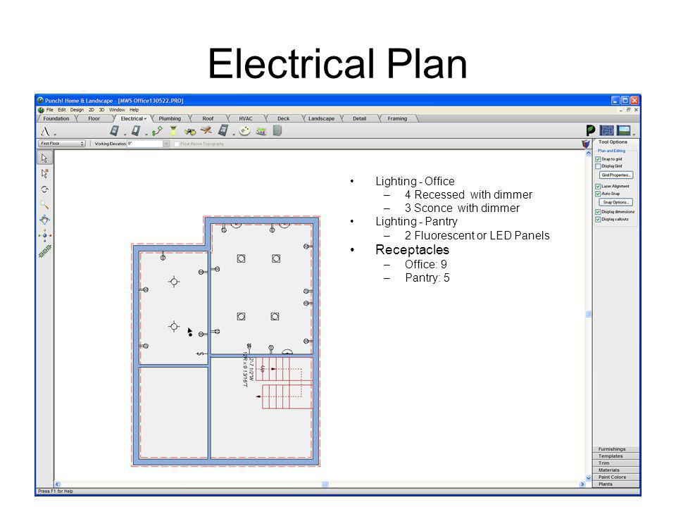 Electrical Plan Lighting - Office –4 Recessed with dimmer –3 Sconce with dimmer Lighting - Pantry –2 Fluorescent or LED Panels Receptacles –Office: 9 –Pantry: 5