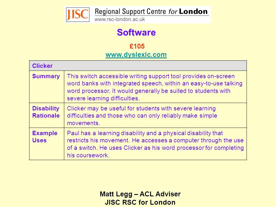 Matt Legg – ACL Adviser JISC RSC for London Software Liberator Copperhead SummaryThe liberator copperhead software is a static augmentative communication system, which includes inbuilt text-to-speech.