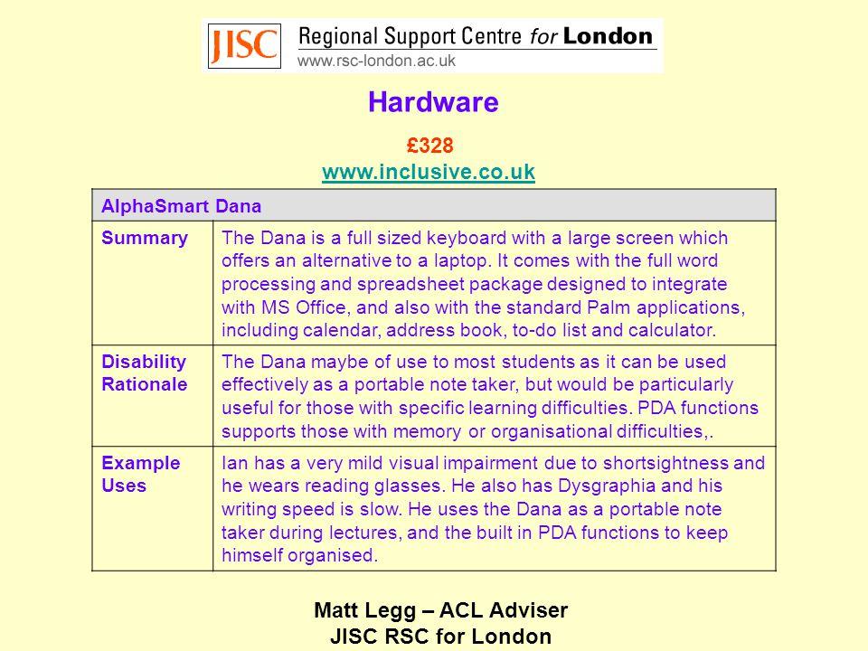 Matt Legg – ACL Adviser JISC RSC for London Hardware Big Keys Plus Qwerty LX SummaryThe Big Keys keyboard provides a highly visible oversized keyboard.