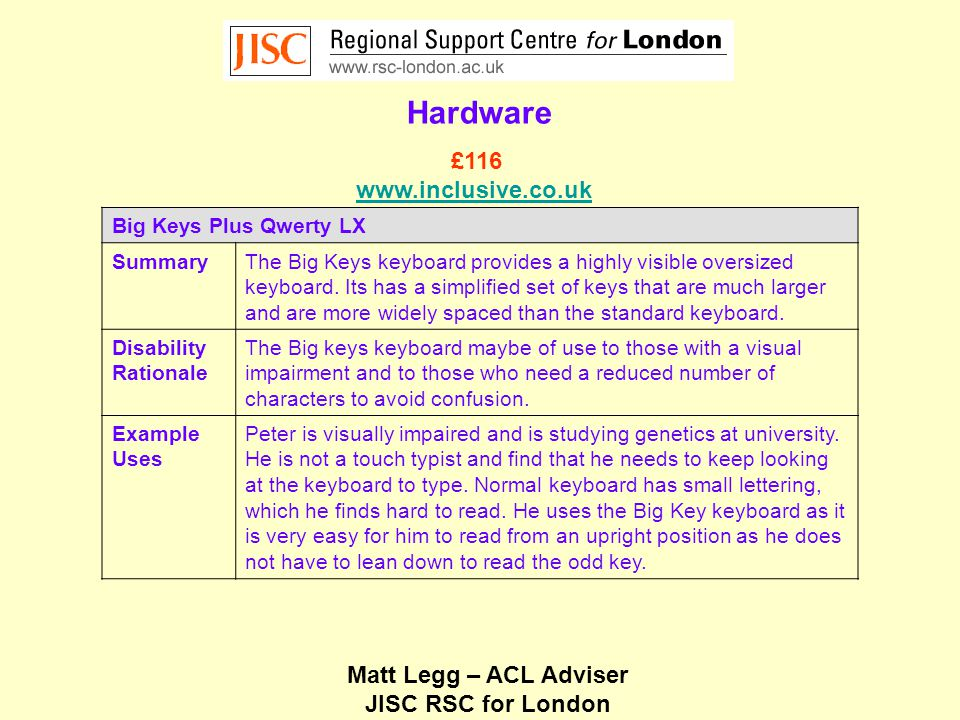 Matt Legg – ACL Adviser JISC RSC for London Low Technology Sheet Magnifier SummarySheet magnifiers provide a simple light portable optical magnifier that can be used for magnifying large areas of a document.
