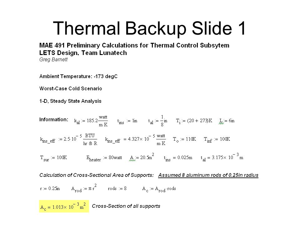 Thermal Backup Slide 1