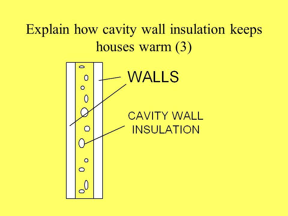 Explain how cavity wall insulation keeps houses warm (3)