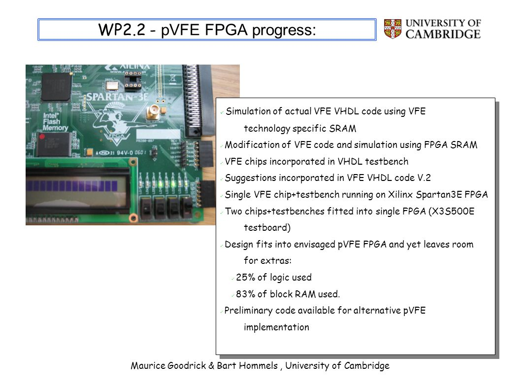 Maurice Goodrick & Bart Hommels, University of Cambridge WP2.2 - pVFE FPGA progress: Simulation of actual VFE VHDL code using VFE technology specific SRAM Modification of VFE code and simulation using FPGA SRAM VFE chips incorporated in VHDL testbench Suggestions incorporated in VFE VHDL code V.2 Single VFE chip+testbench running on Xilinx Spartan3E FPGA Two chips+testbenches fitted into single FPGA (X3S500E testboard) Design fits into envisaged pVFE FPGA and yet leaves room for extras: 25% of logic used 83% of block RAM used.