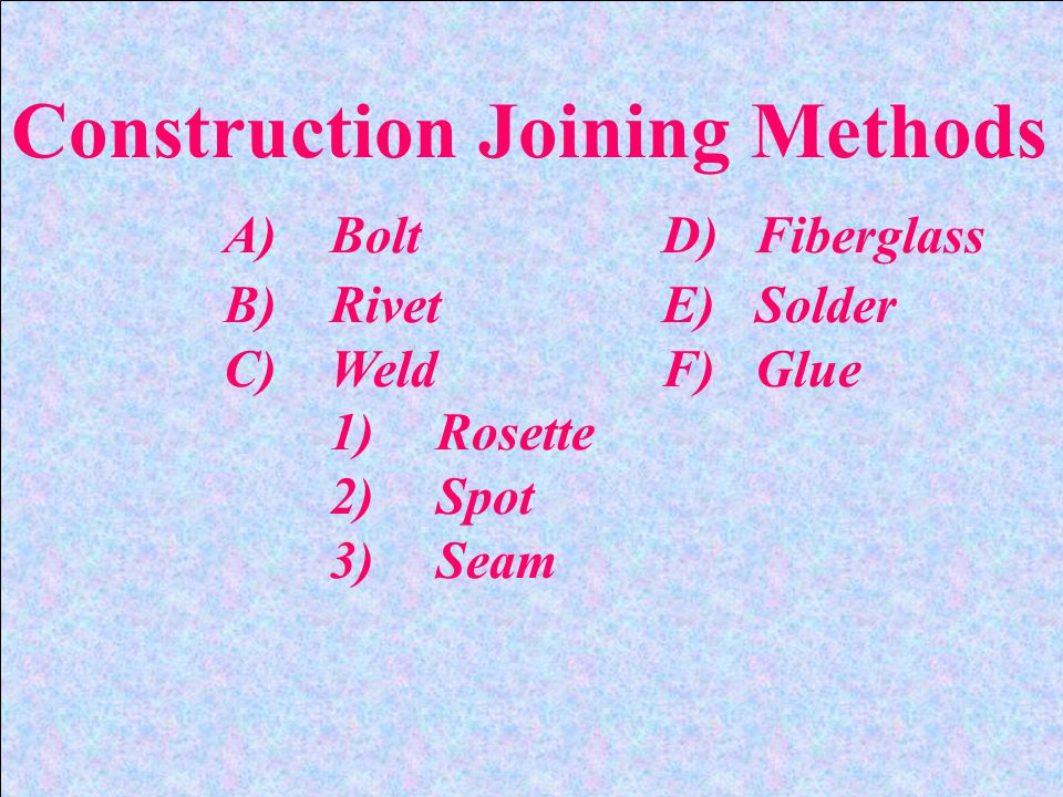 Construction Joining Methods A)Bolt D)Fiberglass B)Rivet E)Solder C)Weld F)Glue 1)Rosette 2)Spot 3)Seam