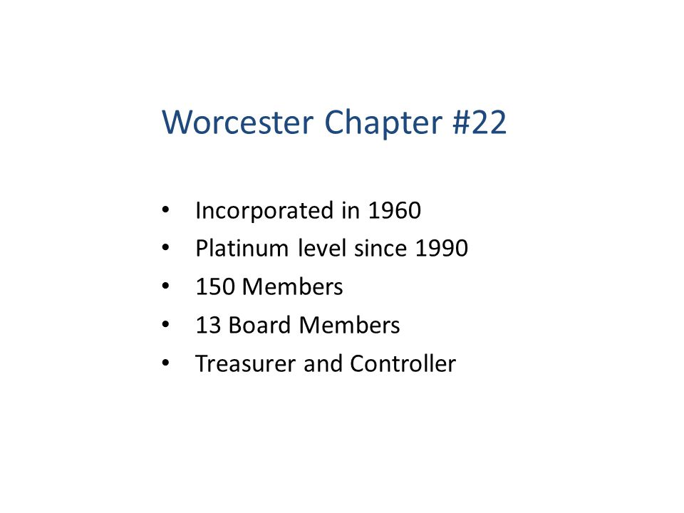 Worcester Chapter #22 Incorporated in 1960 Platinum level since 1990 150 Members 13 Board Members Treasurer and Controller