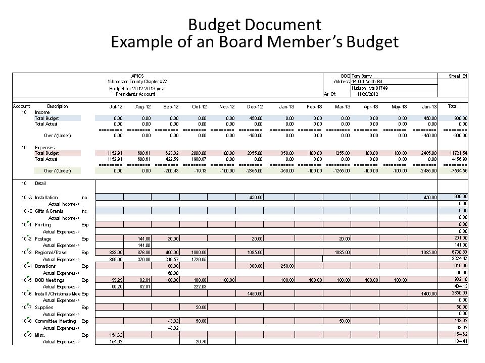 Budget Document Example of an Board Members Budget