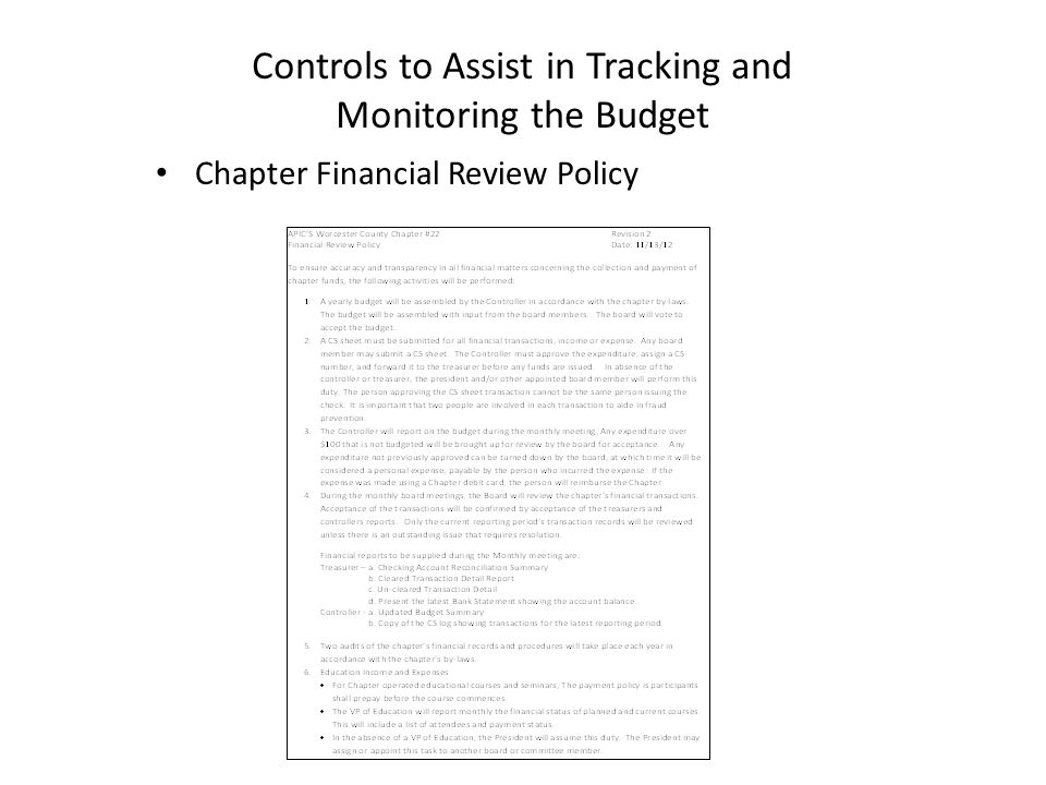 Chapter Financial Review Policy Controls to Assist in Tracking and Monitoring the Budget