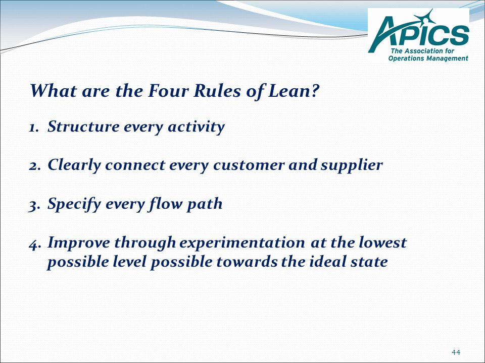 What are the Four Rules of Lean.