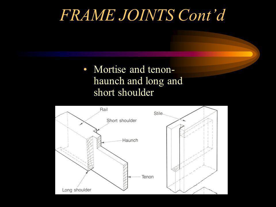 Framed Joints Long and short shoulder dowel joint Mitre joint – dowelled