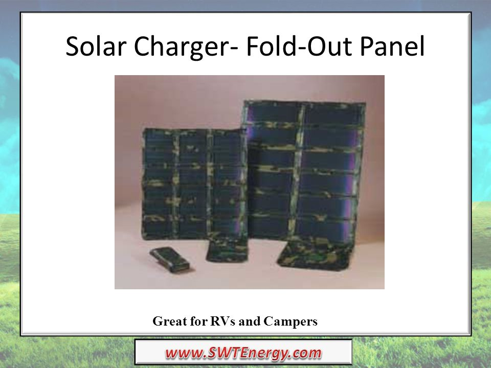 Solar Charger- Fold-Out Panel Great for RVs and Campers