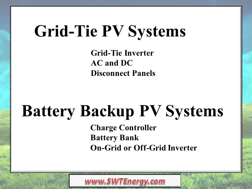 Grid-Tie PV Systems Battery Backup PV Systems Grid-Tie Inverter AC and DC Disconnect Panels Charge Controller Battery Bank On-Grid or Off-Grid Inverter