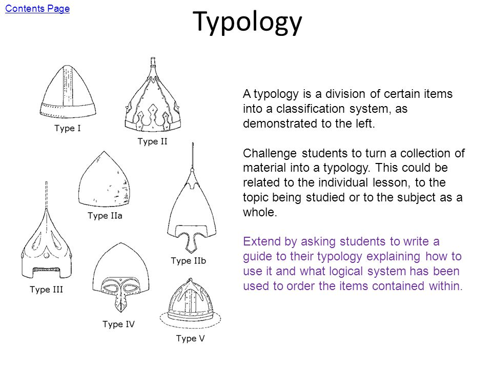 Typology A typology is a division of certain items into a classification system, as demonstrated to the left.