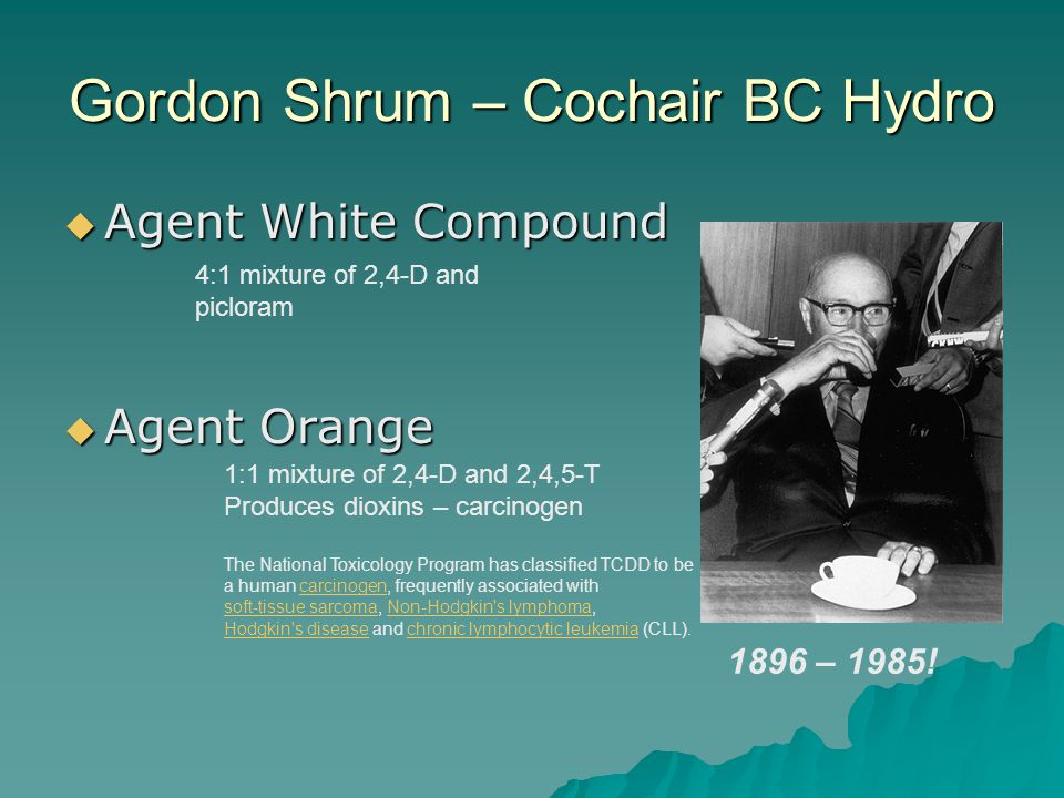 Gordon Shrum – Cochair BC Hydro Agent White Compound Agent White Compound Agent Orange Agent Orange 4:1 mixture of 2,4-D and picloram 1:1 mixture of 2,4-D and 2,4,5-T Produces dioxins – carcinogen The National Toxicology Program has classified TCDD to be a human carcinogen, frequently associated withcarcinogen soft-tissue sarcomasoft-tissue sarcoma, Non-Hodgkin s lymphoma,Non-Hodgkin s lymphoma Hodgkin s diseaseHodgkin s disease and chronic lymphocytic leukemia (CLL).chronic lymphocytic leukemia 1896 – 1985!