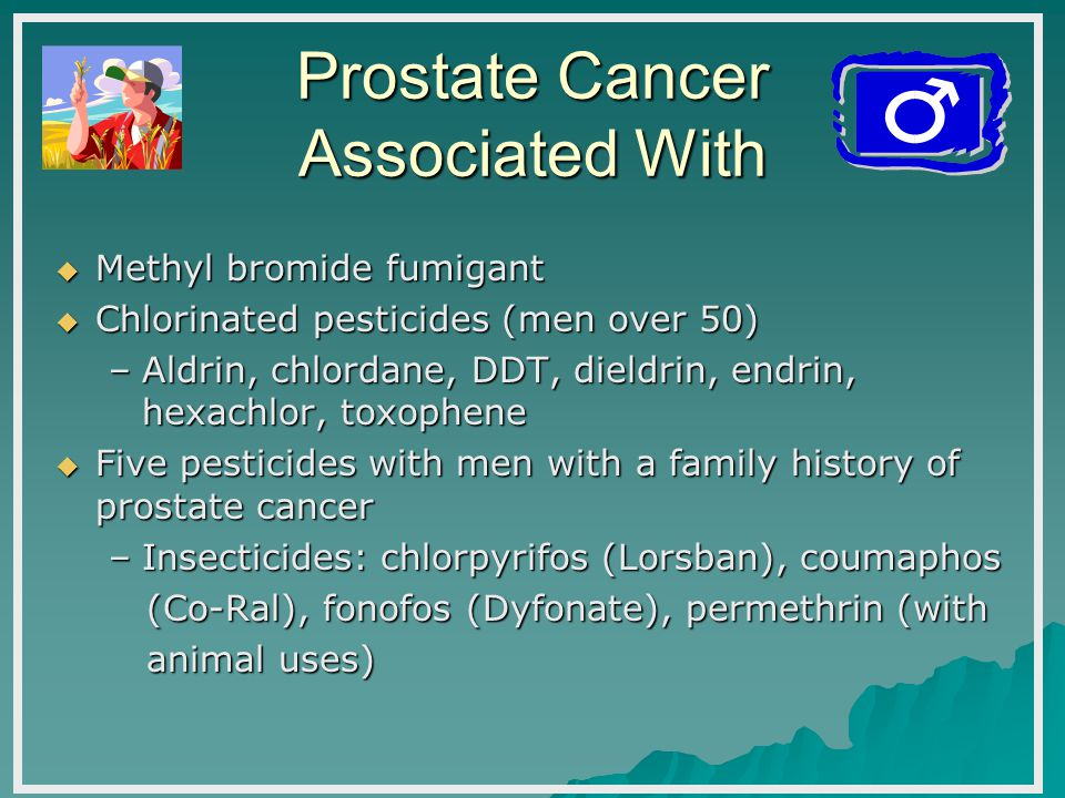 Prostate Cancer Associated With Methyl bromide fumigant Methyl bromide fumigant Chlorinated pesticides (men over 50) Chlorinated pesticides (men over 50) –Aldrin, chlordane, DDT, dieldrin, endrin, hexachlor, toxophene Five pesticides with men with a family history of prostate cancer Five pesticides with men with a family history of prostate cancer –Insecticides: chlorpyrifos (Lorsban), coumaphos (Co-Ral), fonofos (Dyfonate), permethrin (with (Co-Ral), fonofos (Dyfonate), permethrin (with animal uses) animal uses)
